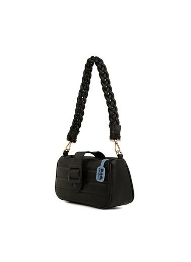 Bagmori  Kadın Kemerli Nakışlı Örgü Askılı Baget Çanta M000006132 Siyah